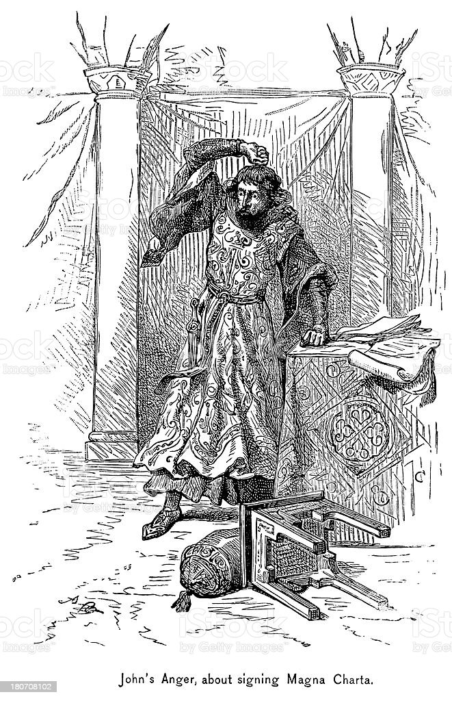 King John's Anger At Signing The Magna Carta royalty-free king johns anger at signing the magna carta stock vector art & more images of 19th century