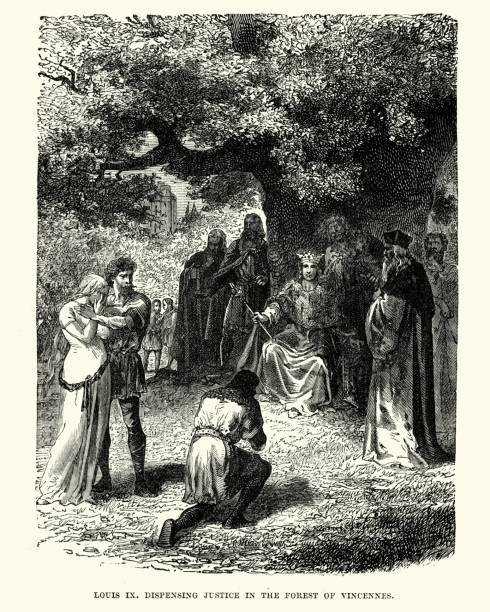 king louis ix dispensing justice in the forest of vincennes - st louis stock illustrations