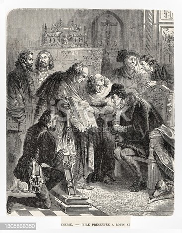 istock King Louis XI Presented First Bible Printed in France1487, French History 1305866350