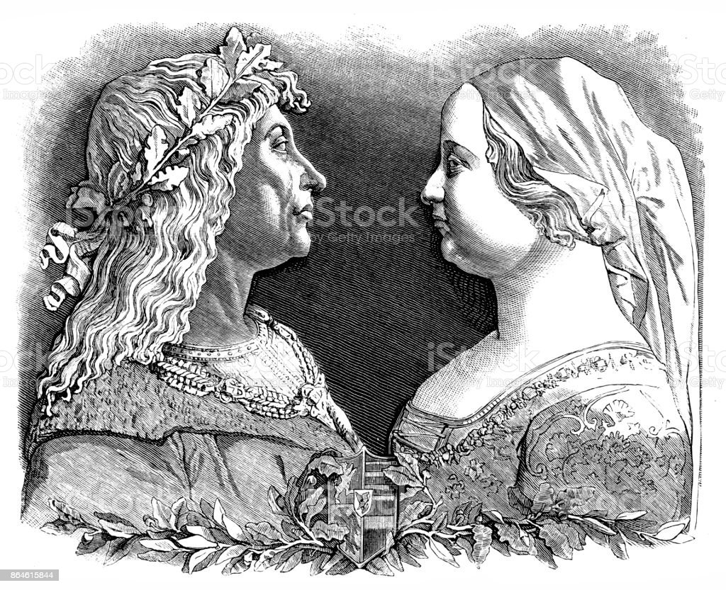King Matthias and Beatrice of Aragon. The son of John Hunyadi, Matthias died in 1690 leaving no heir and failing to create a great Danube kingdom vector art illustration