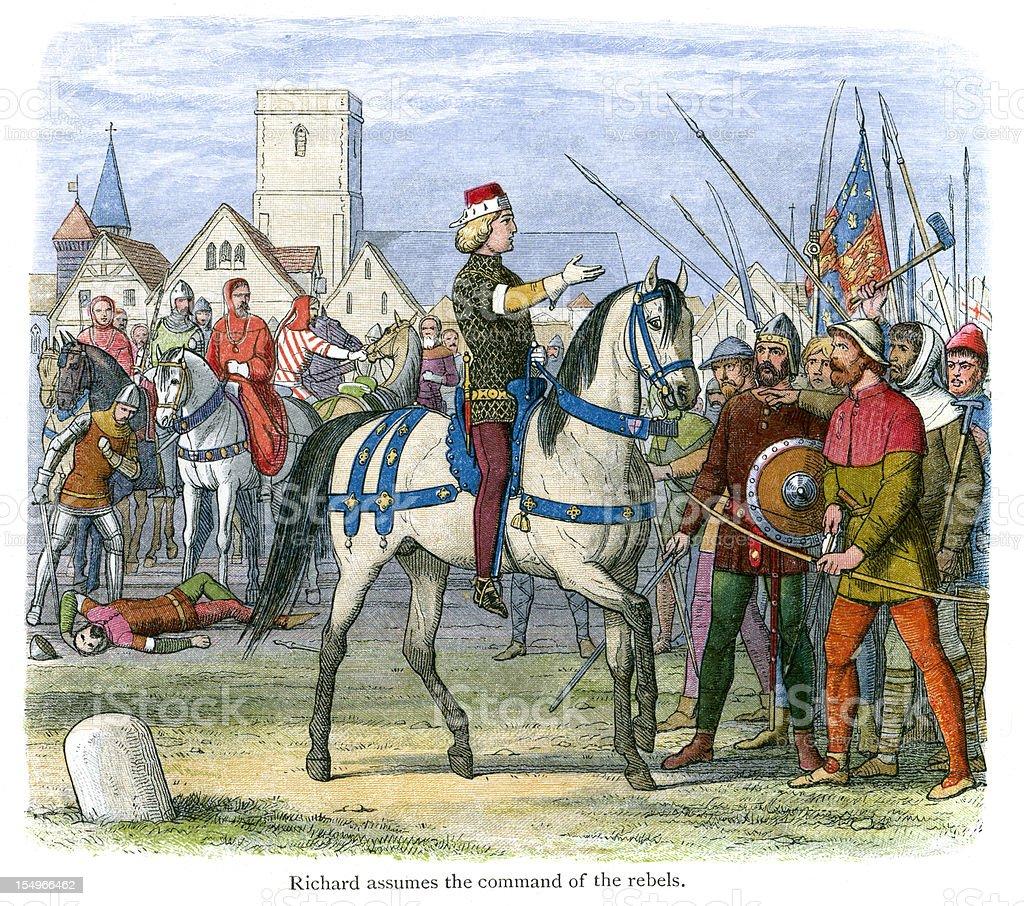 King Richard II assumes command of the Rebels vector art illustration