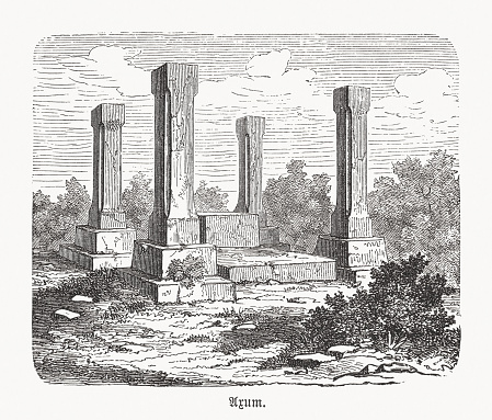 King's Throne in Axum, Ethiopia, wood engraving, published in 1893