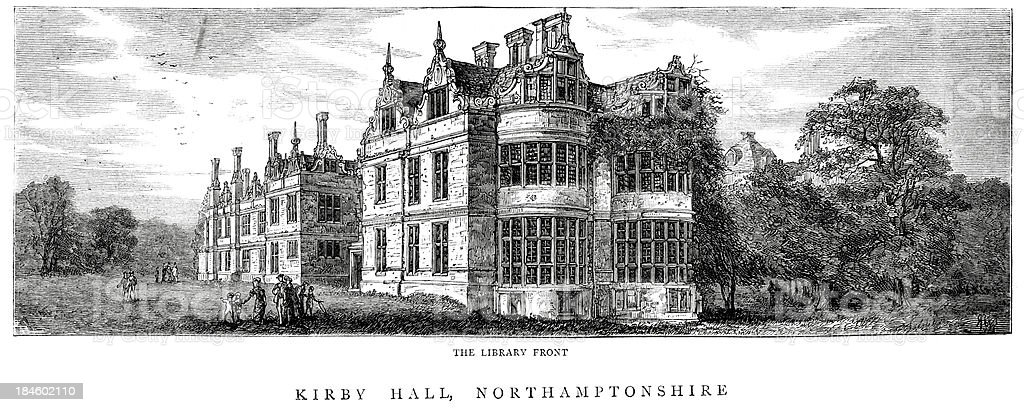 Kirby Hall Northamptonshire England royalty-free stock vector art