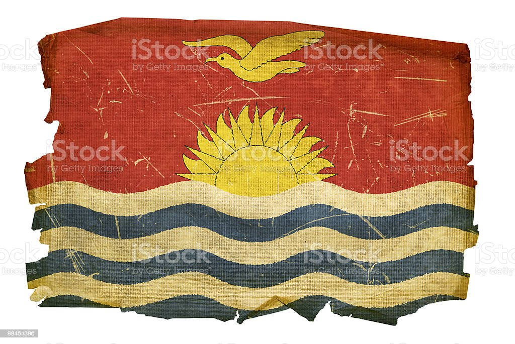 Kiribati Flag old, isolated on white background. royalty-free kiribati flag old isolated on white background stock vector art & more images of aging process