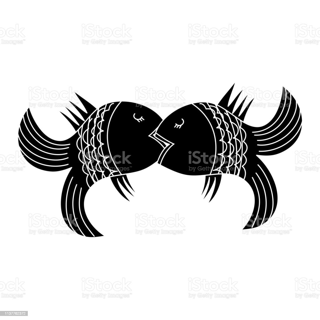 Kiss of two fishes. Hand drawn illustration for logotype, coloring...