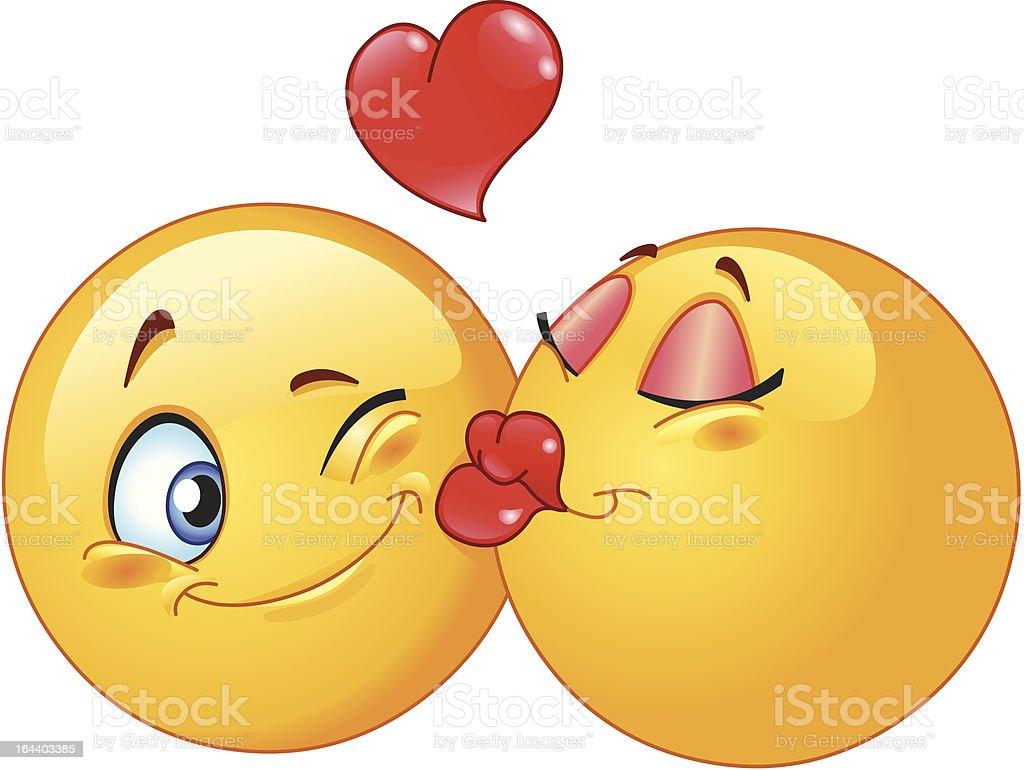 Kissing emoticons vector art illustration