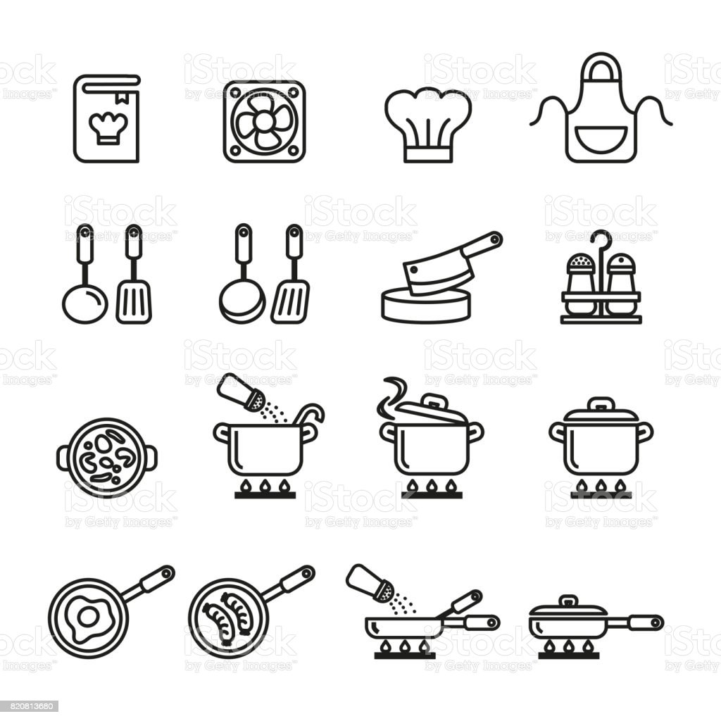 Kitchen and Cooking Icons Set. Line Style stock vector. vector art illustration