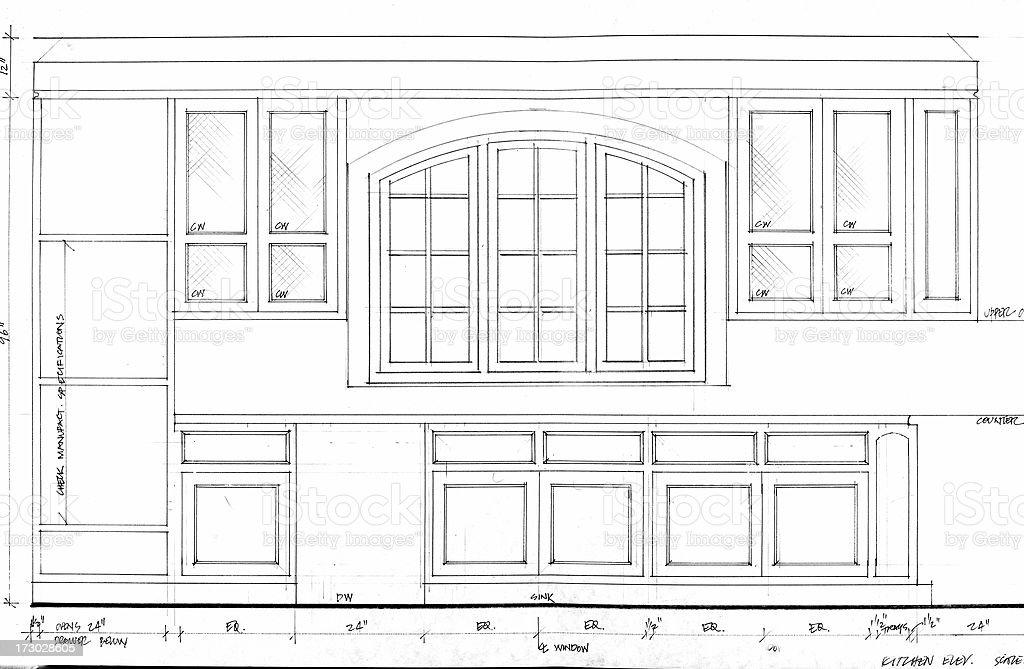 kitchen cabinets vector art illustration