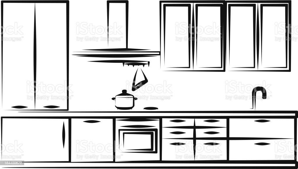 Kitchen furniture vector art illustration