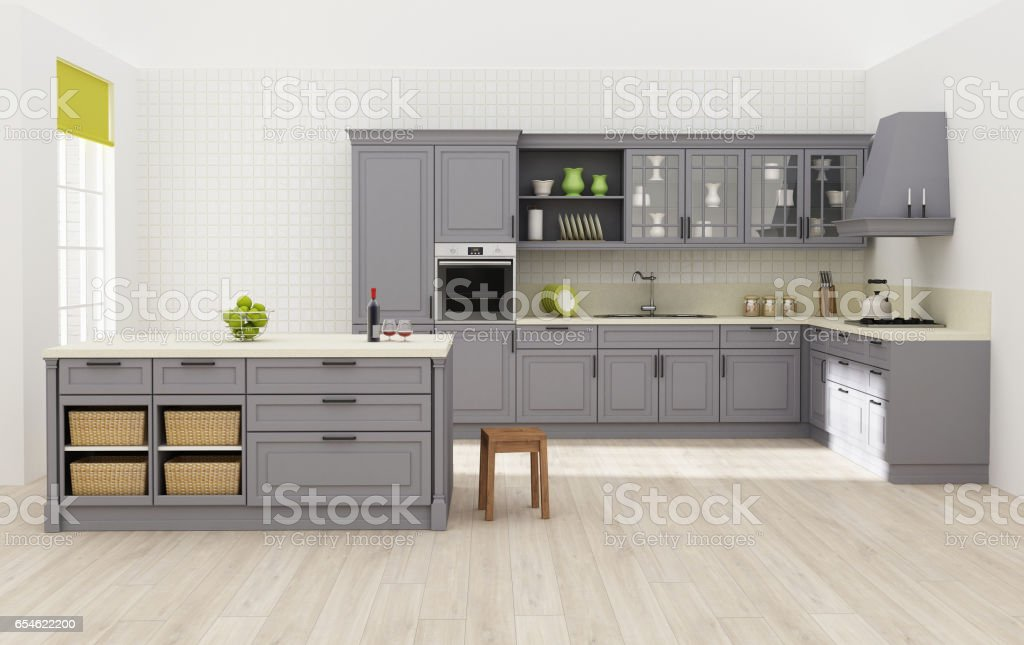 Kitchen Interior 3d Rendering Stock Vector Art More Images Of
