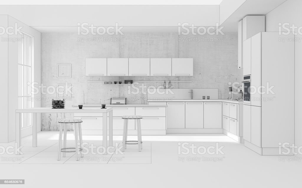 Kitchen Interior Grid 3d Rendering Stock Vector Art & More Images of