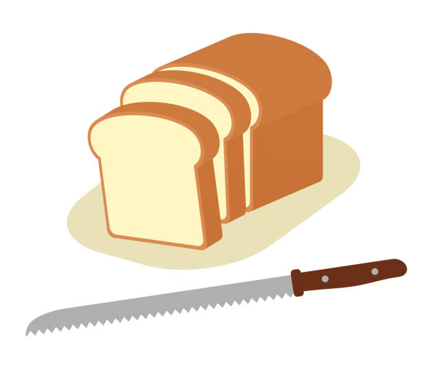 包丁、パン - 食パン点のイラスト素材/クリップアート素材/マンガ素材/アイコン素材