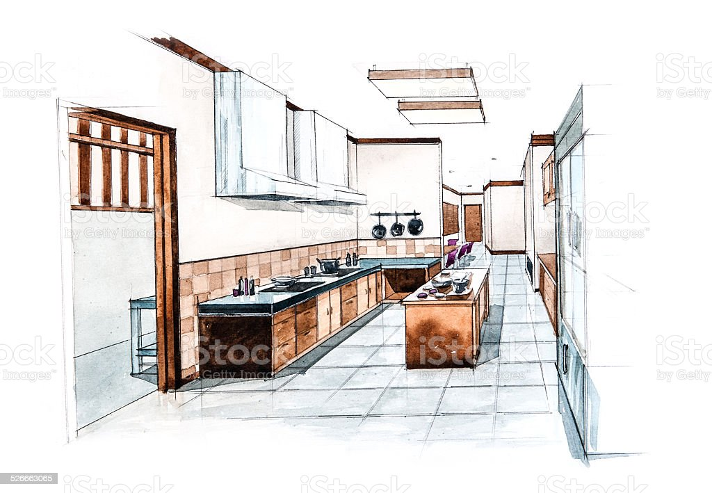 Kitchen Room For Restaurant Design Of Watercolor Painting Stock Illustration Download Image Now Istock