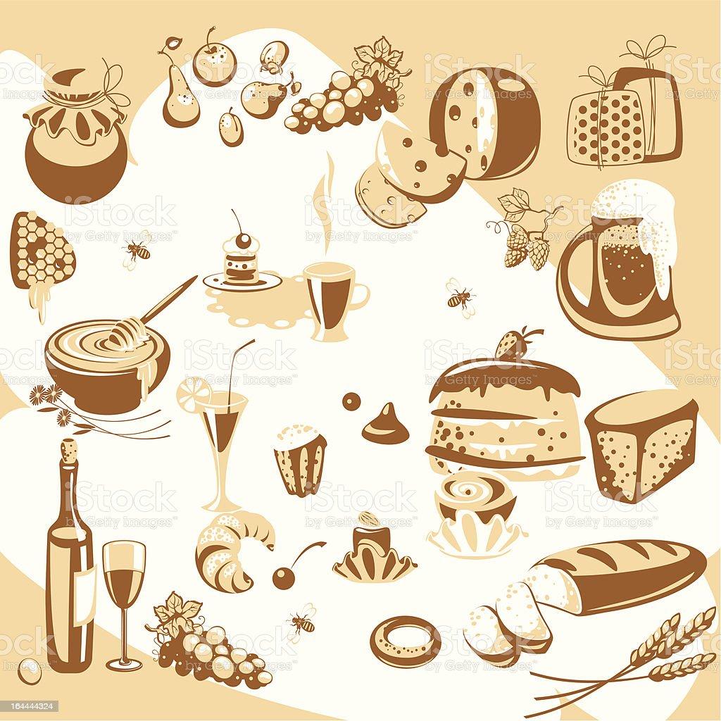 kitchen set. food royalty-free stock vector art