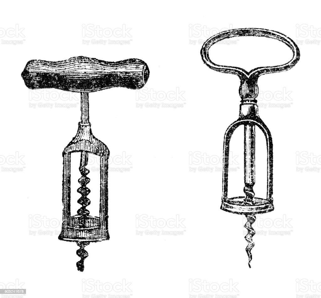Kitchen Utensils: Corkscrew vector art illustration