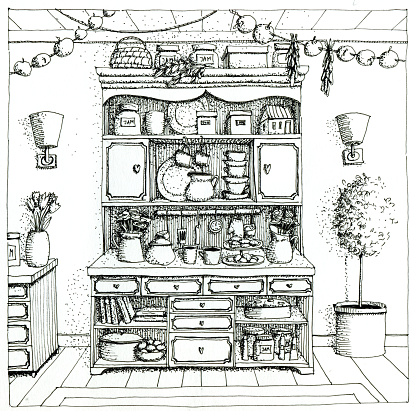 Kitchen witches cupboard with books, cups, plates.