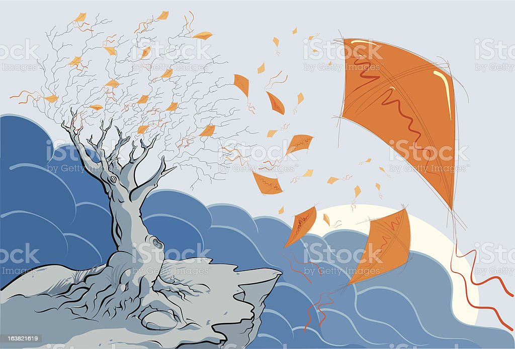 kite fall royalty-free kite fall stock vector art & more images of autumn