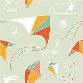 Seamless pattern with kites and birds