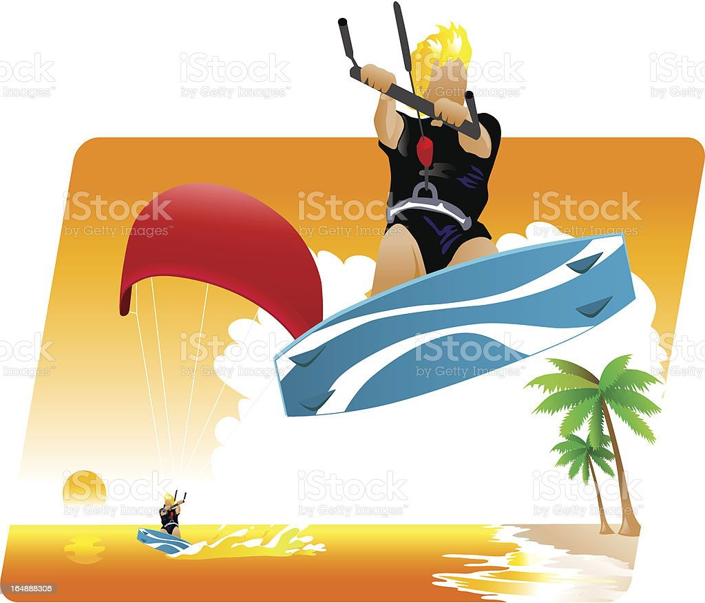 kite surf royalty-free kite surf stock vector art & more images of activity