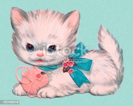 Kitten and Ball of Yarn