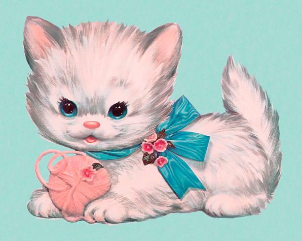キトンとボールの糸 - 子猫点のイラスト素材/クリップアート素材/マンガ素材/アイコン素材