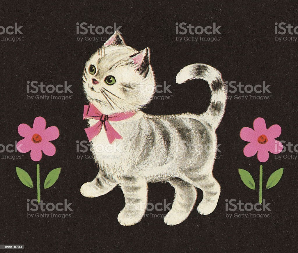 Kitten and Flowers royalty-free stock vector art