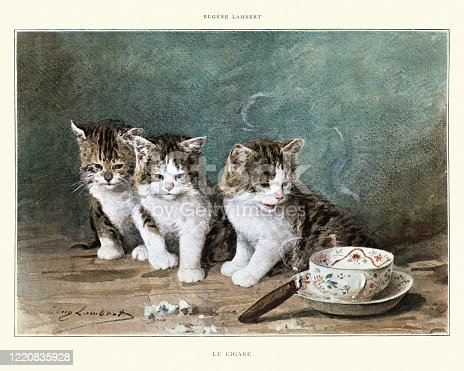 Vintage illustration of Le Cigare (The cigar), engraving after Louis Eugene Lambert. Kittens curious about a lit cigar, 19th Century