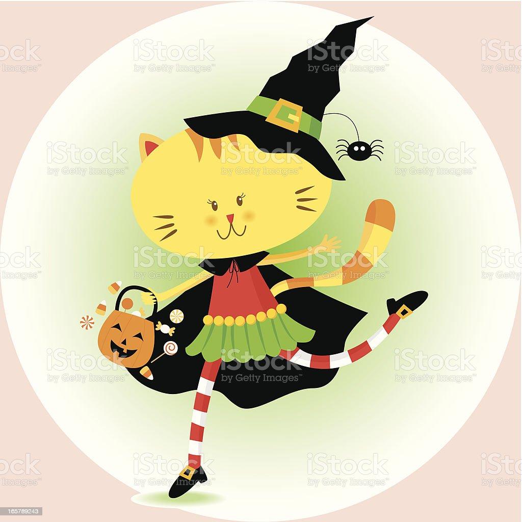 Kitty on Halloween vector art illustration
