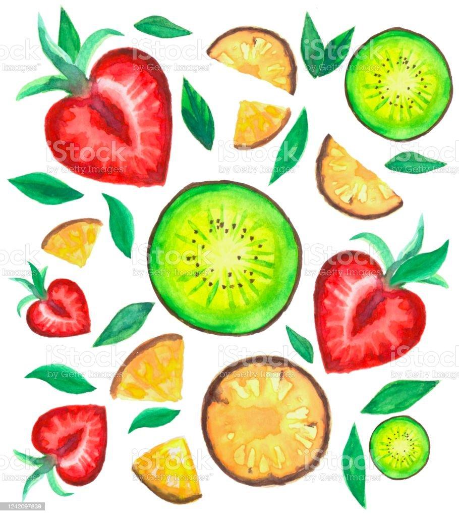 キウイフルーツパイナップルイチゴ葉っぱ添え かんきつ類のベクターアート素材や画像を多数ご用意 Istock