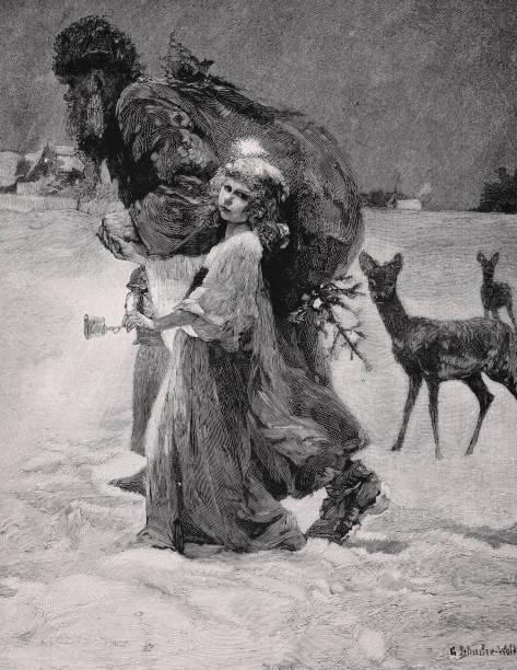 illustrations, cliparts, dessins animés et icônes de knecht ruprecht - illustration de 1894 - saint nicolas