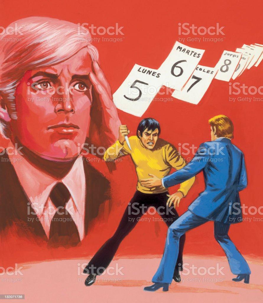 ナイフ投げ;考える男性;スペインのカレンダー ベクターアートイラスト