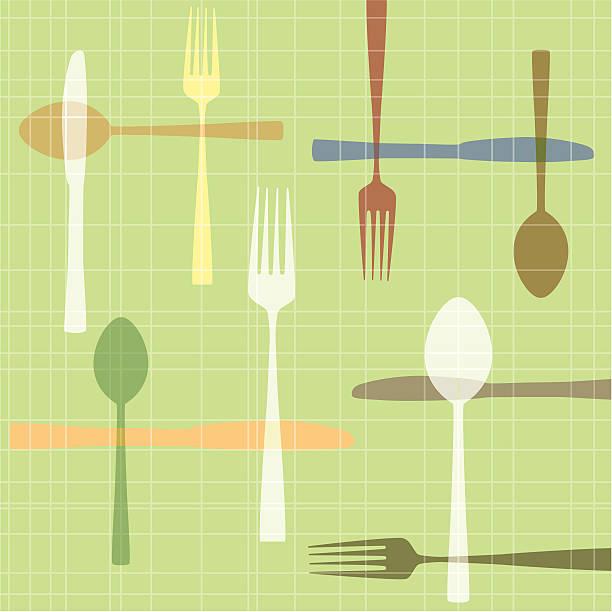 knife fork spoon - heather mcgrath stock illustrations