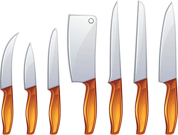 messer - winkelküche stock-grafiken, -clipart, -cartoons und -symbole