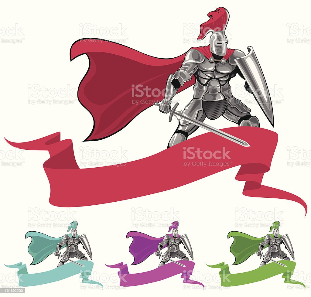 knight and banner royalty-free stock vector art