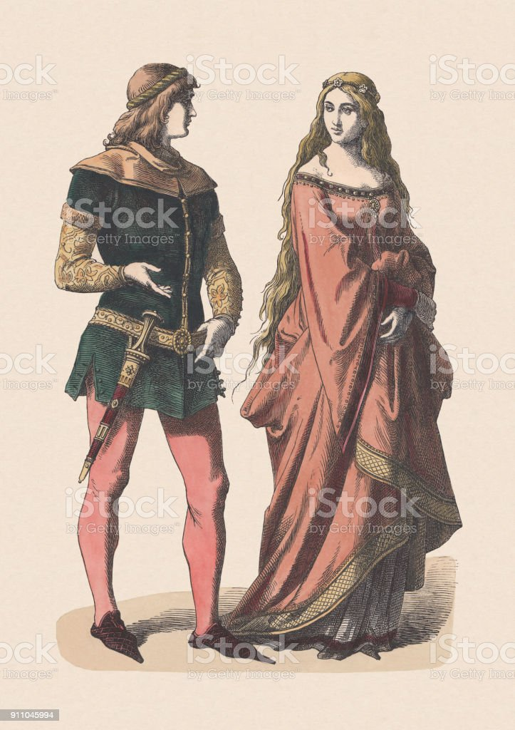 Knight and noblewoman, 14th century, hand-colored woodcut, published c.1880 vector art illustration
