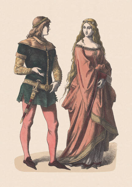 knight and noblewoman, 14th century, hand-colored woodcut, published c.1880 - renaissance style stock illustrations, clip art, cartoons, & icons