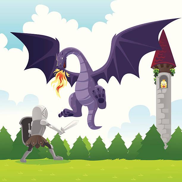 Knight fighting dragon vector art illustration