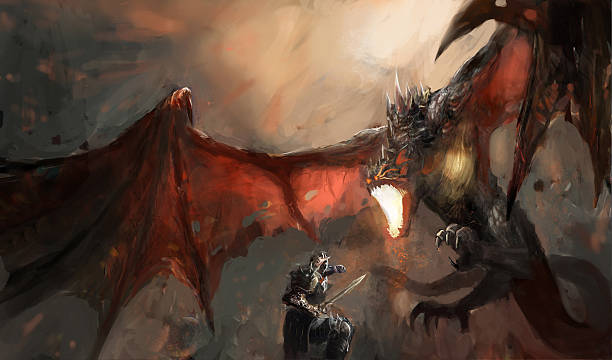 knight fighting dragon - dragon stock illustrations, clip art, cartoons, & icons