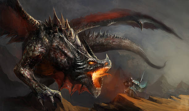knight fighting dragon fantasy scene knight fighting dragon dreamlike stock illustrations