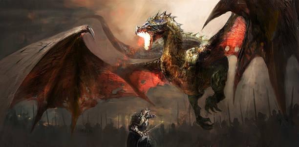 illustrations, cliparts, dessins animés et icônes de knight fighting dragon - dragon