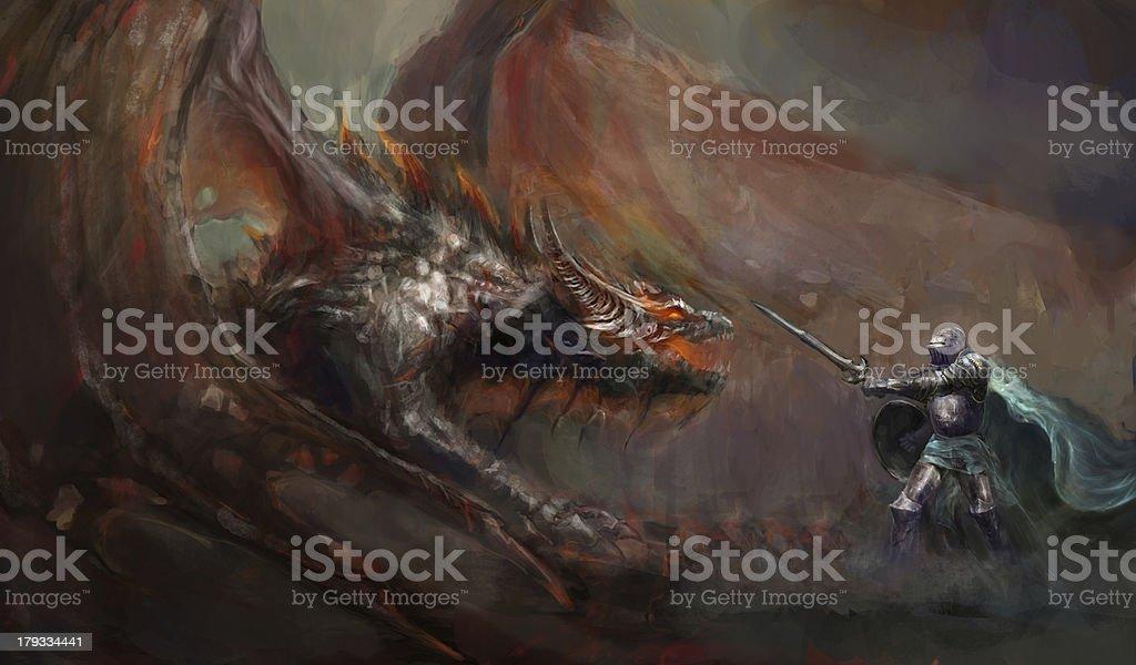 knight fighting the dragon vector art illustration