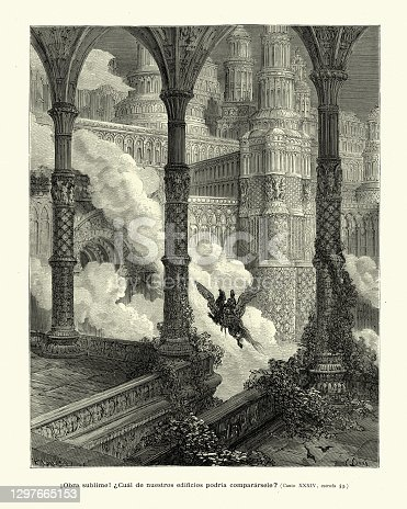 istock Knight flying through grand palace on a hippogriff, Medieval fantasy 1297665153