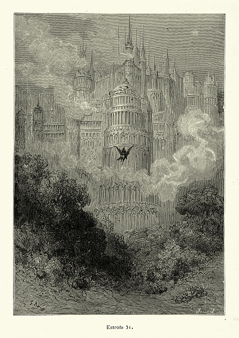 Vintage illustration of scene from Orlando Furioso illustrated by Gustave Dore. Knight flying towards mythical city on a hippogriff