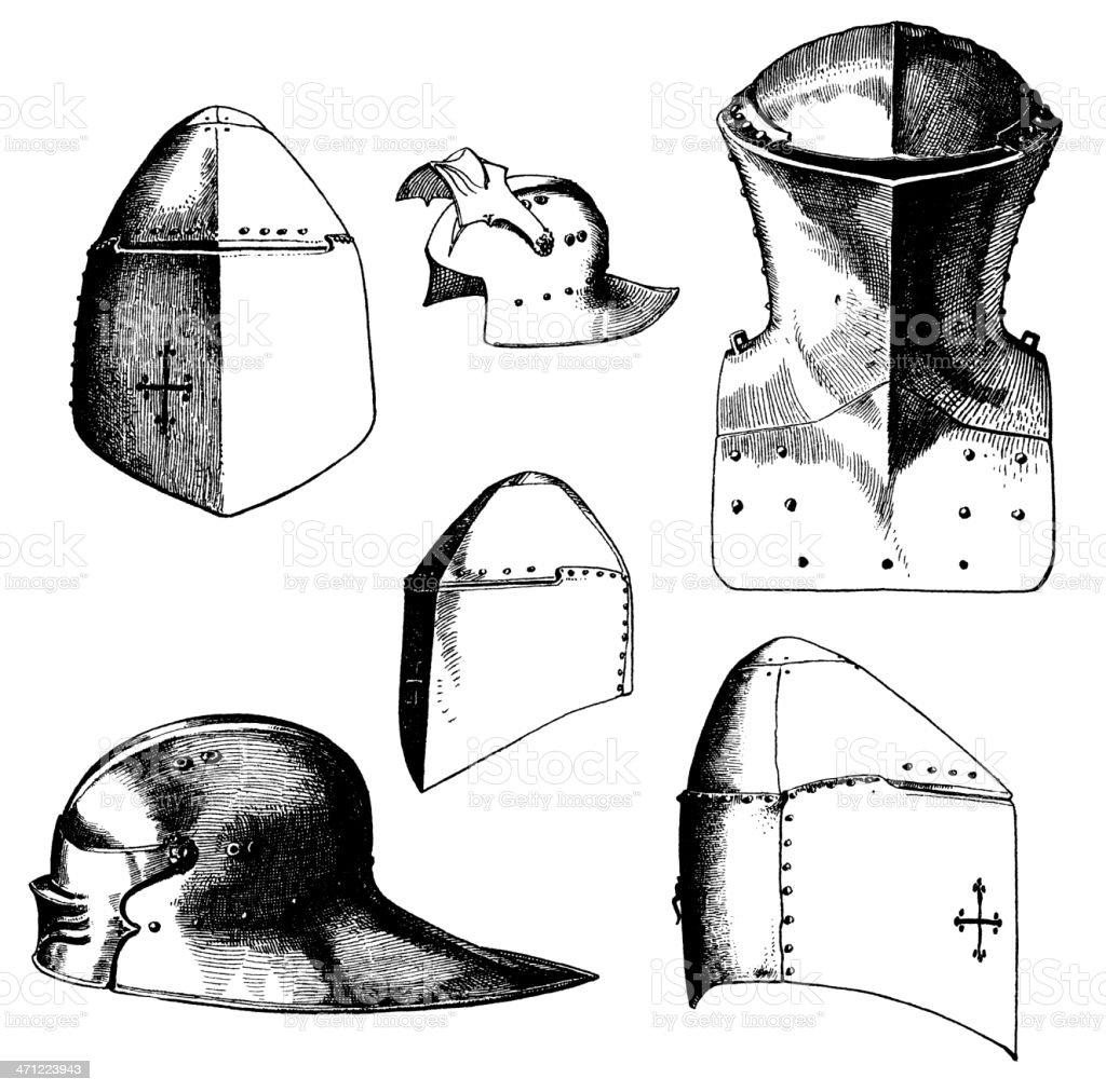 Knight helmets vector art illustration