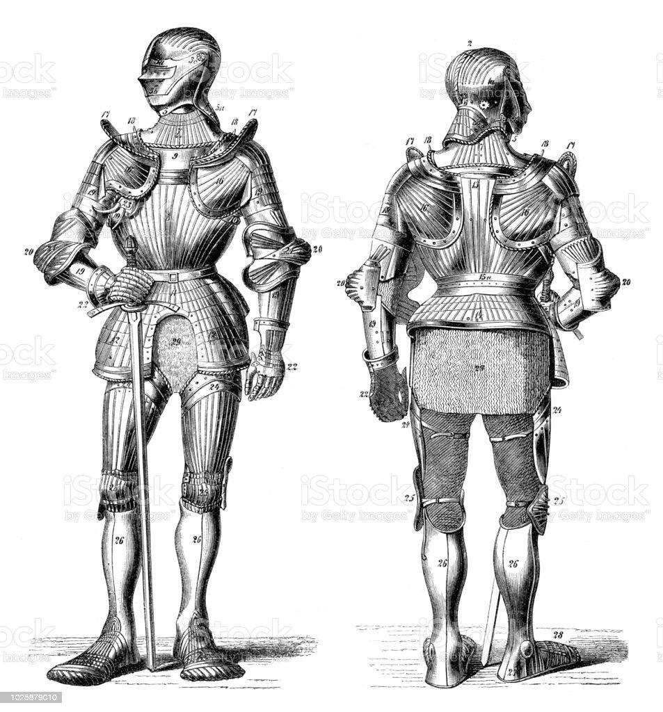 Ritter in Metall mittelalterlichen Waffenkammer – Vektorgrafik