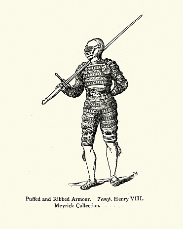 Knight in puffed and ribbed armour with two handed sword