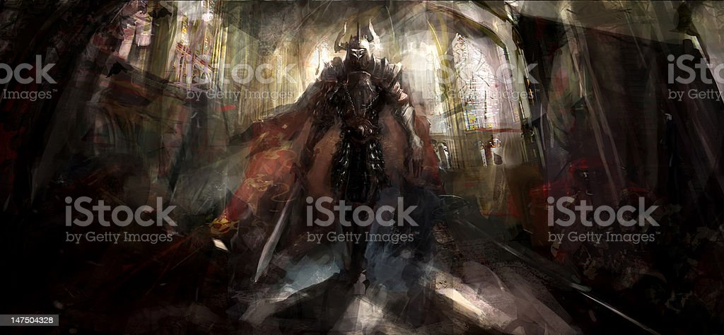 knight in temple royalty-free stock vector art