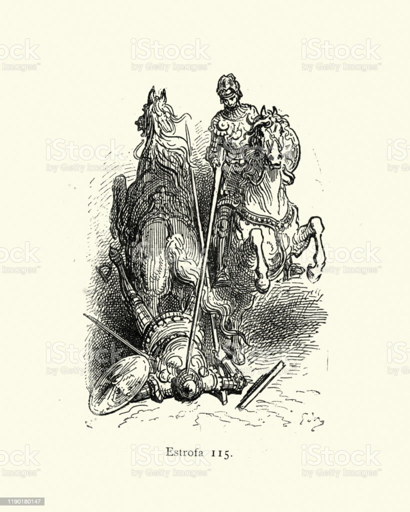 Knight Knocking Another Of Horse With Lance Medieval Tourney Stock Illustration Download Image Now Istock
