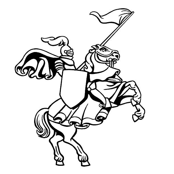 Knight On Rearing Horse Vector Art Illustration