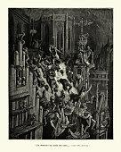 istock Knight slaughtering inhabitants of a medieval city. Orlando Furioso 1197660998